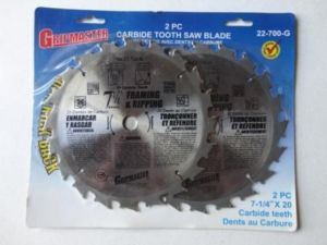 2 Piece 7 1/4″ x 20 Carbide Saw Blades – $10