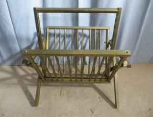 Foldable Brass Magazine Rack – $65