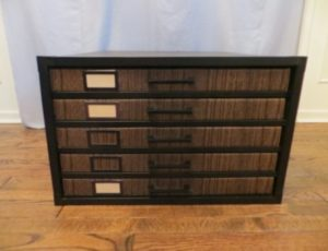 5-Drawer Black & Walnut Cardboard Flat File – $35
