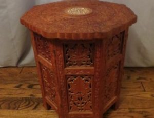 Hand Carved Wooden Side Table – $75