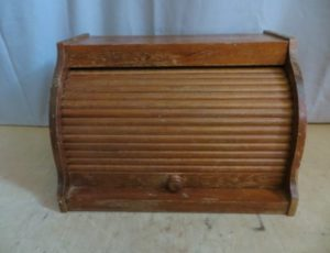 Vintage Wooden Roll-Top Bread Box – $30
